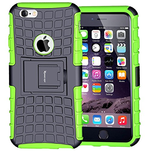 Price comparison product image Case for iPhone 6,  Armor Heavy Duty Protection Rugged Dual Layer Hybrid Shockproof Case Protective Cover for Apple iPhone 6 6S 4.7 Inch with Built-in Kickstand (Green)