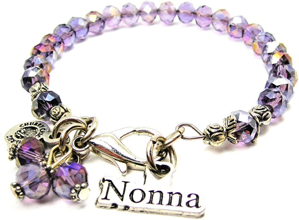 Chubby Chico Charms Nonna Victorian Scroll Splash of Color Bracelet in Lavender Purple