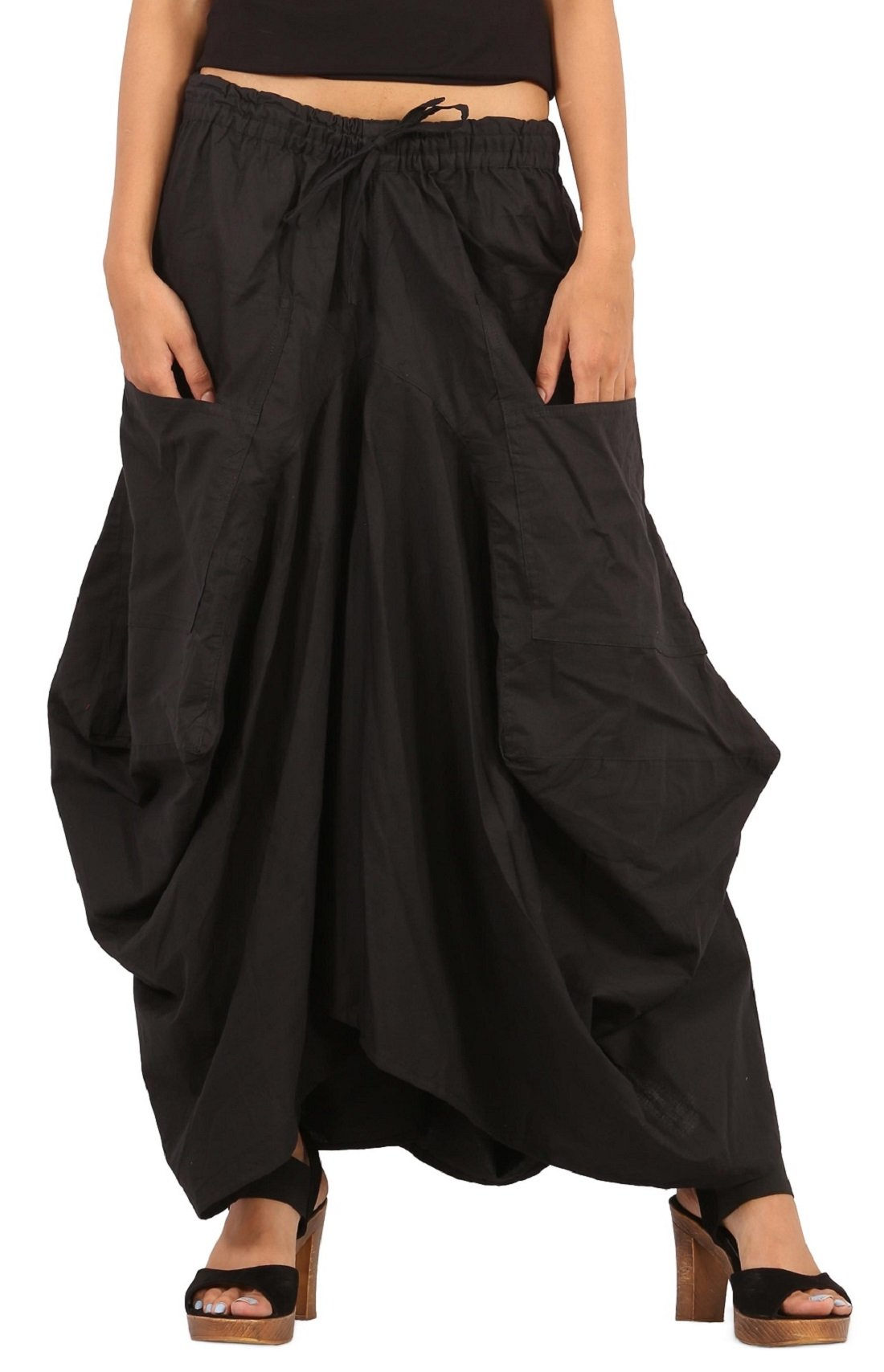 The Harem Studio Womens Girls Cotton Ankle Length Casual Long Skirt - 2 Pockets - Balloon Style (Black)
