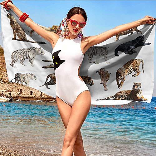 (Safari,Decorative Towels Big Wild Cats Zoo Animals W31 xL63 Absorbency Fabric Softener Towels)