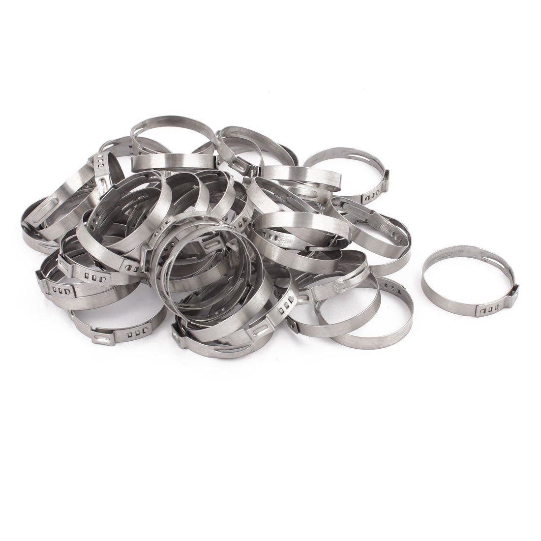 uxcell 39.3mm-42.5mm 304 Stainless Steel Adjustable Tube Hose Clamps Silver Tone 50pcs