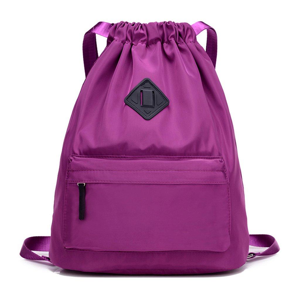 Waterproof Travel Sports Yoga Gym Drawstring Backpack Bag Training Gymsack Sackpack(Purple)