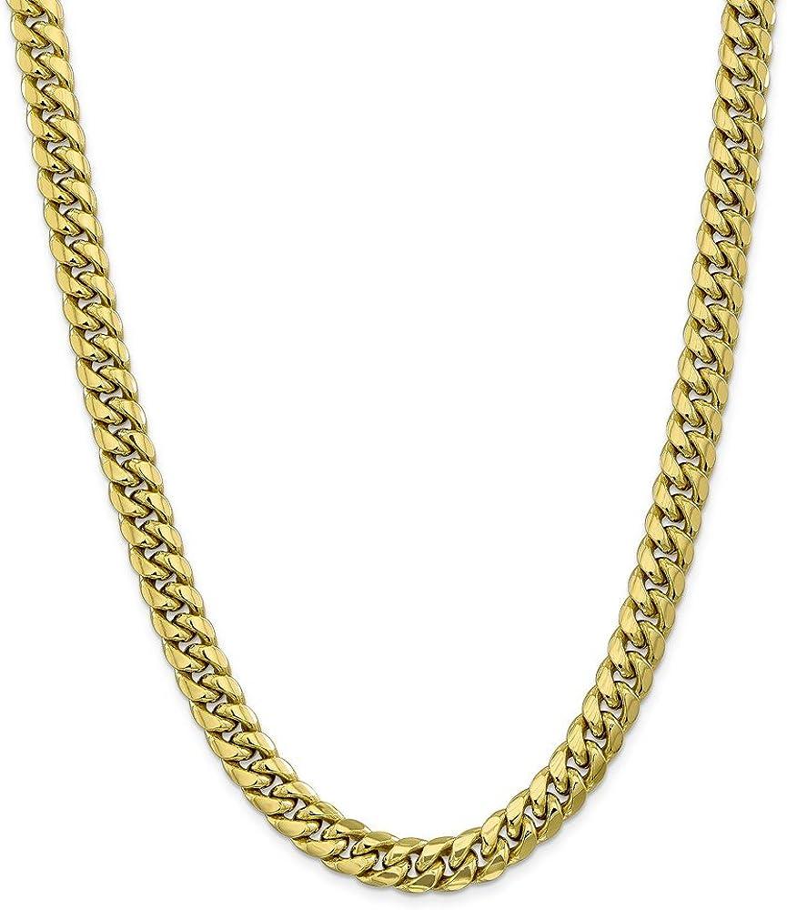 Leslie 's - Collar de cadena cubana de 9,3 mm, oro amarillo de 10 quilates, para hombres y mujeres