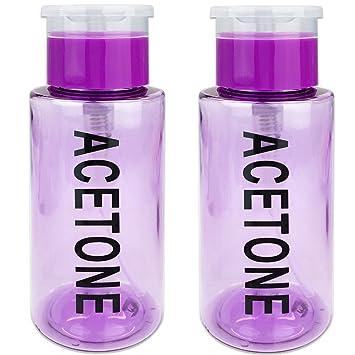 20a7459e233d PANA Brand 7oz. (Quantity: 2 Pieces) Acetone Labeled Liquid Push Down Pump  Dispenser Bottle with Flip Top...