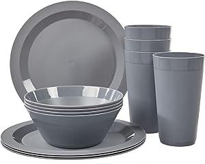 Newport Plastic Plate, Bowl and Tumbler Dinnerware   12-piece set Grey