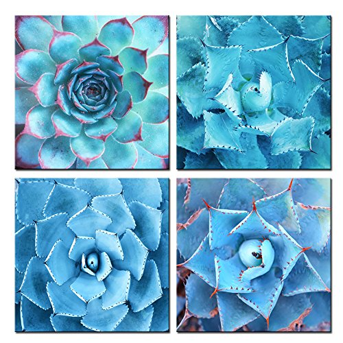 Modern Wall Art Canvas,Succulent Canvas Art set of 4,Blue Plants Painting Wall Decor Art Giclee Print,Botanical Pictures for Home Living Room Decal,Each Piece 12\