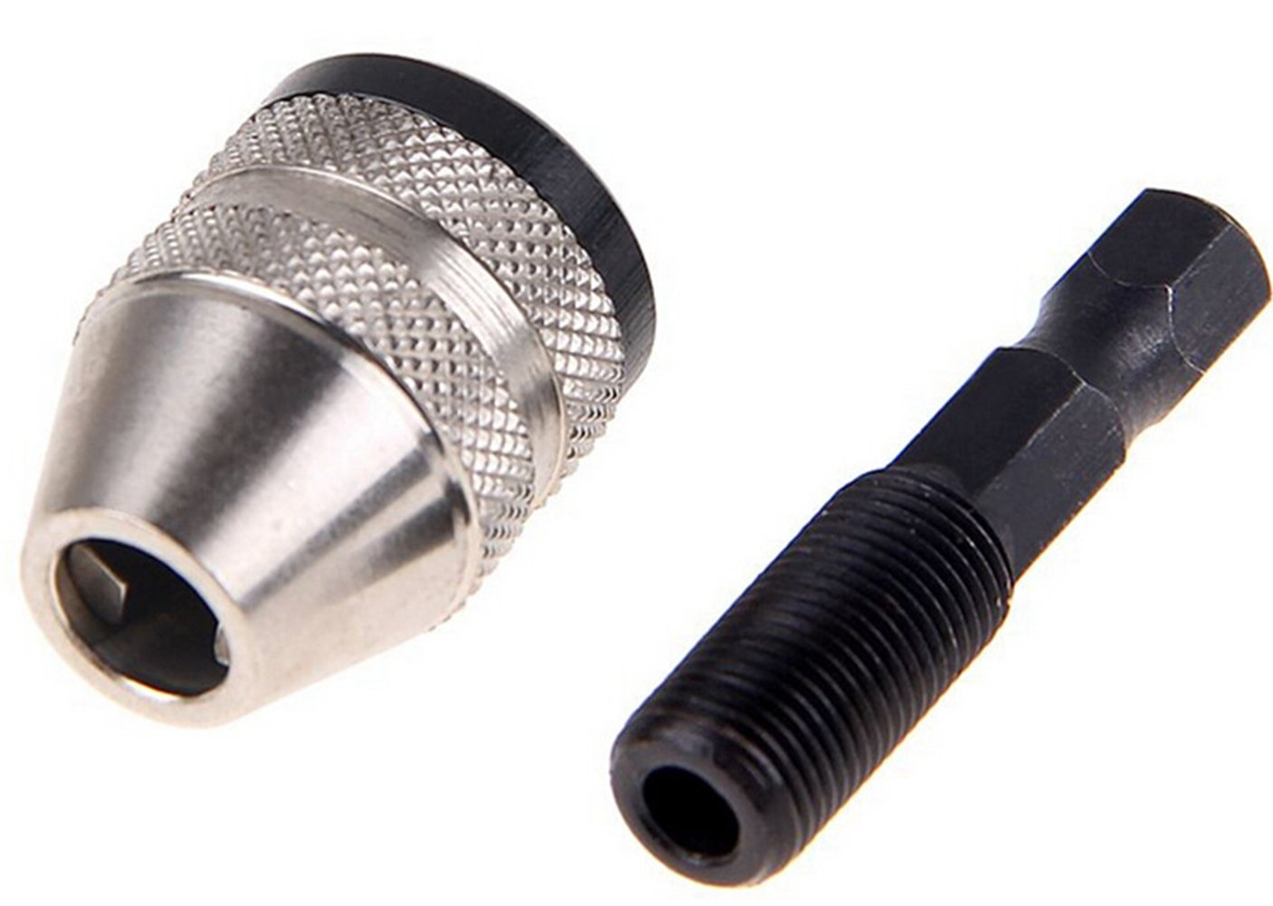 MALAYAS 1//4 Keyless Chuck 0.3-6.5mm 3 Jaw Keyless Drill Chuck Adapter Conversion Tool Hex Shank-Holds Micro