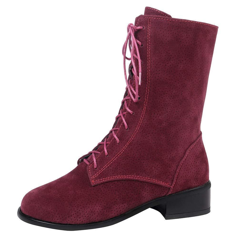 ZHRUI ZHRUI ZHRUI Frauen Vintage schnüren Stiefel, Damen pu Leder reißverschluss Flache Stiefel lässige Mode im Freien Gummi Stilvolle Winter Walking Wandern Biker Stiefel (Farbe   Rot, Größe   5 UK) fd35f0
