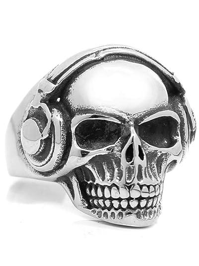 Rugged Steel Anillo de acero inoxidable calavera cráneo (62 ...