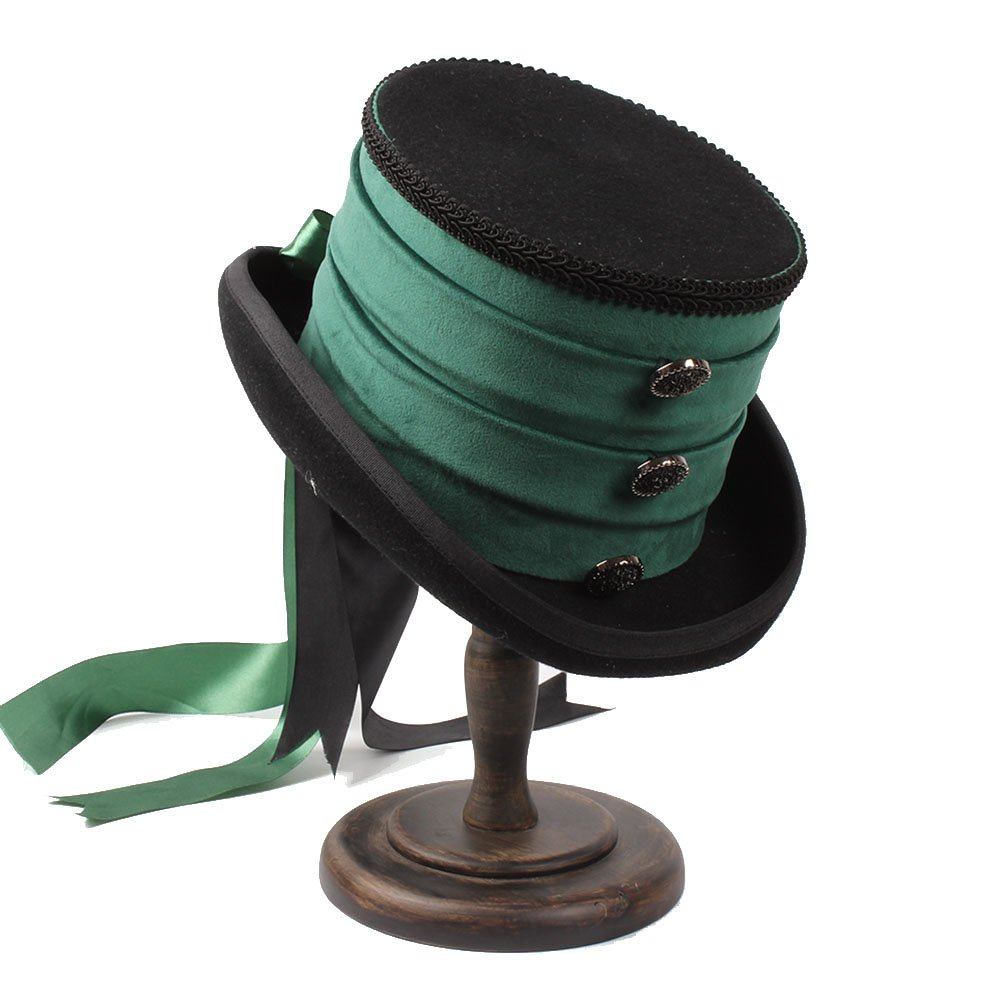 Ruiyue Victorian Steampunk Raven Green Top Hat ( Color : 1 , Size : 57CM )