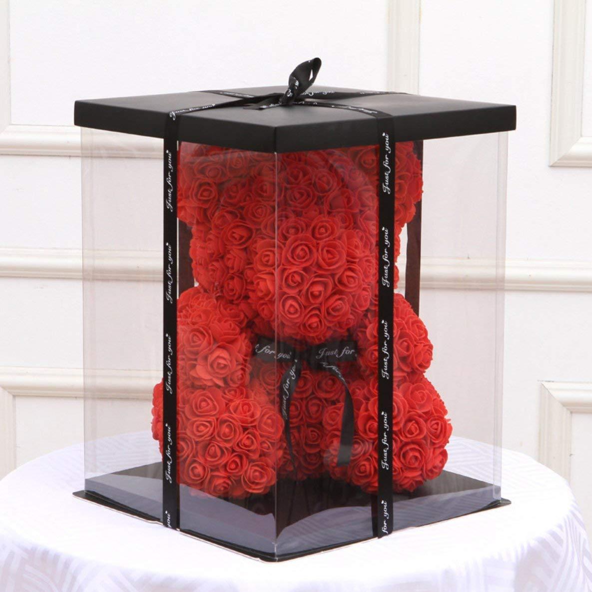 Noradtjcca Bo/îte-Cadeau Vide Transparent pour Ours en Peluche Artificiel Rose Cadeaux de Fleurs bo/îte Femmes Cadeau Ours en Peluche Lapin