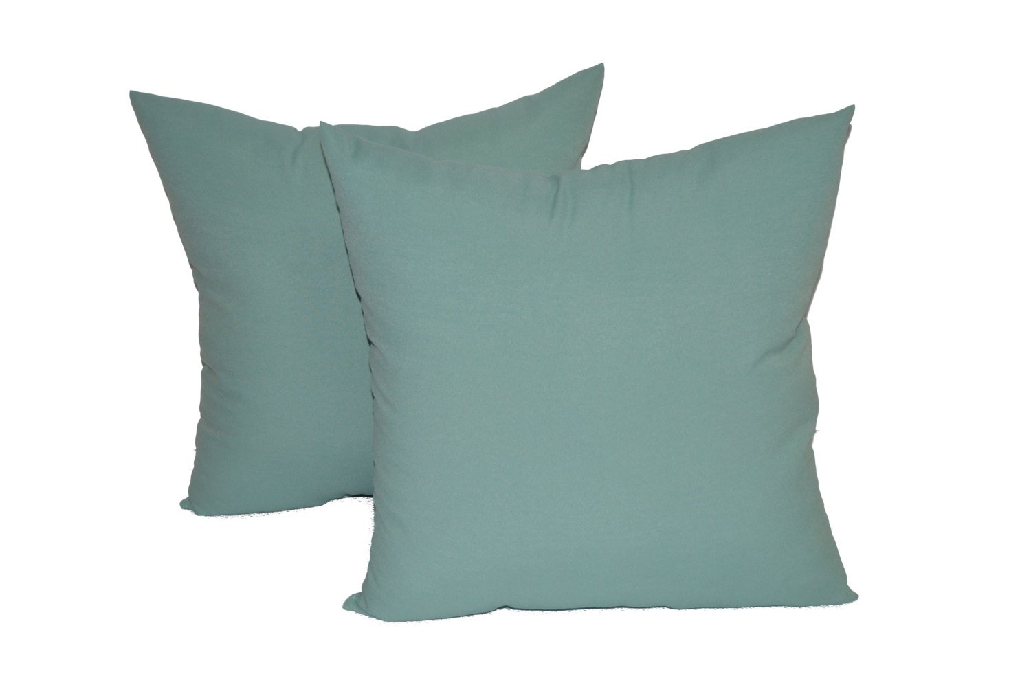 Set of 2 - Indoor / Outdoor 24'' Jumbo / Large / Over-sized Square Decorative Throw / Toss Pillows - Solid Aqua / Spa