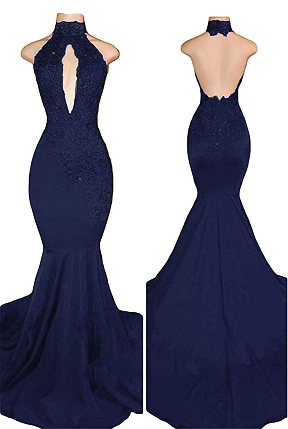 Navy bluee Women's Sexy Halter Mermaid Prom Dresses Lace Appliques 2019 Long Evening Gowns Formal Dresses
