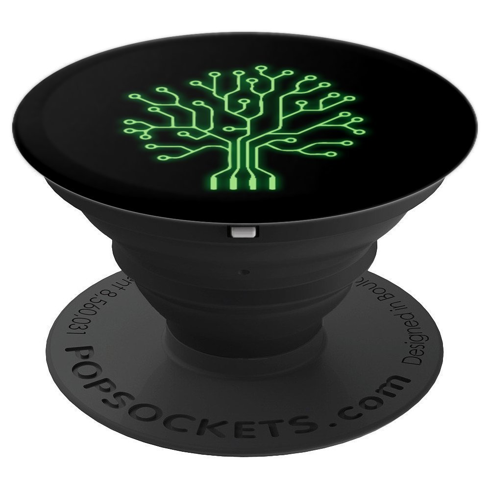 Neon Binary Tree PCB Computer Coding Programmer - PopSockets Grip and Stand for Phones and Tablets