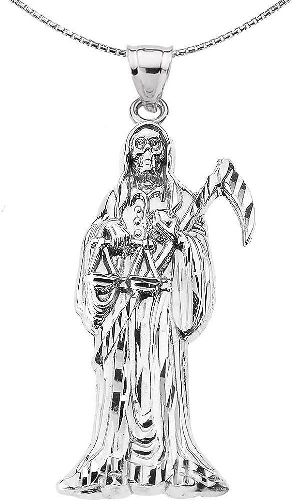 1.5 inch 10k solid yellow Gold grim reaper santa muerte pendant angel of death