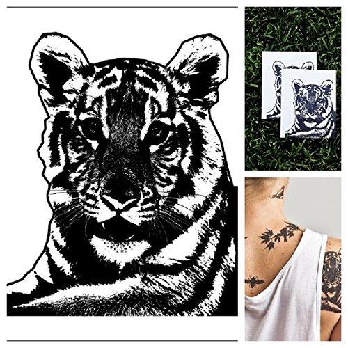 Simple Tiger Costume Makeup (Tattify Animal Temporary Tattoo - Tiger Stripes (Set of 2))