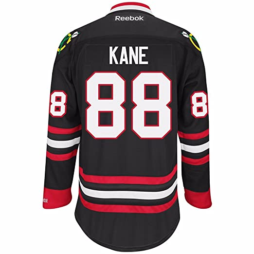 Reebok Chicago Blackhawks NHL Patrick Kane  88 Black Premier Jersey  Stitched (Large) 4c896d5e8