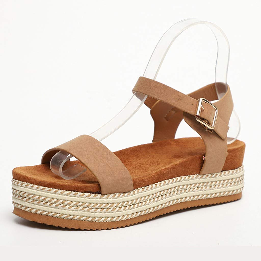 Sharemen Womens Casual Espadrilles Flatform Studded Wedge Buckle Ankle Strap Open Toe Sandals(Khaki,US: 7.5) by Sharemen Shoes (Image #3)