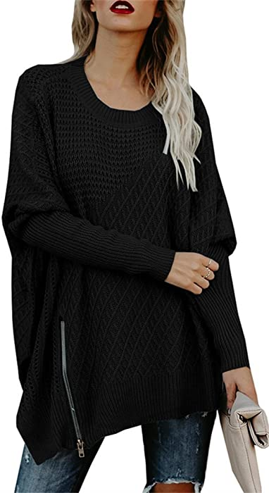 652e3bc78 Chuanqi Womens Sweaters Oversized Batwing Pullover Sweater Loose Off The  Shoulder Knit Jumper