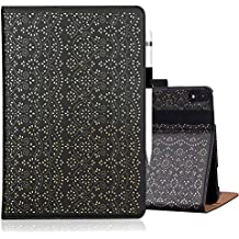 "WWW Apple iPad Pro 12.9"" 2018 Case,[Luxury Laser Flower] Premium PU Leather Case Protective Cover with Auto Wake/Sleep Feature and Multiple Viewing Angles for Apple iPad Pro 12.9"" 2018 Black"