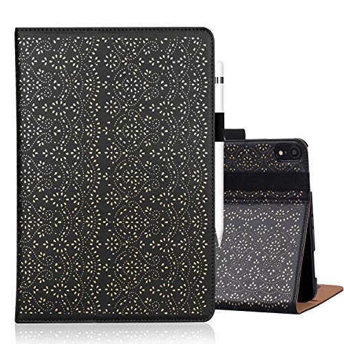 WWW Apple iPad Pro 12.9 2018 Case,[Luxury Laser Flower] Premium PU Leather Case Protective Cover with Auto Wake/Sleep Feature and Multiple Viewing Angles for Apple iPad Pro 12.9 2018 Black