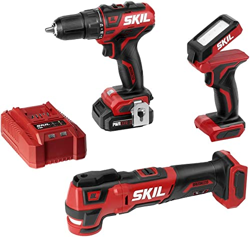 SKIL 3-Tool Combo Kit Pwrcore 12 Brushless 12V 1 2 Cordless Drill Driver, Oscillating Multitool Area Light, Includes 2.0Ah Lithium Battery Standard Charger – CB738701