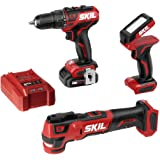 SKIL 3-Tool Kit: PWRCore 12 Brushless 12V 1/2 Inch Cordless Drill Driver, Oscillating MultiTool and Area Light, Includes 2.0A