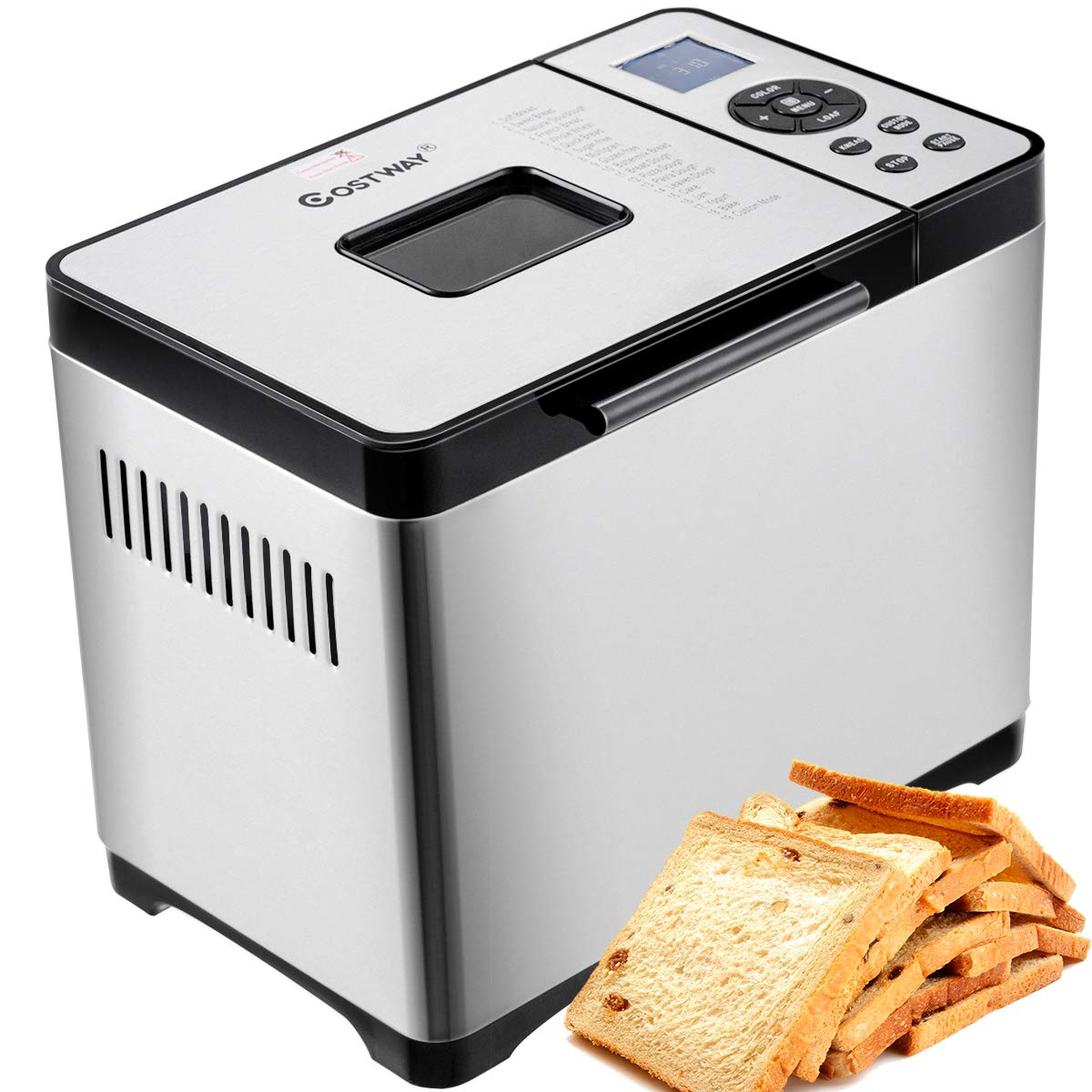 COSTWAY Bread Maker Stainless Steel Automatic Programmable Multifunctional Bread Machine with 19 Programs, 3 Loaf Sizes, 3 Crust Colors, 15 Hours Delay Timer, 1 Hour Keep Warm 19 Programs 650W