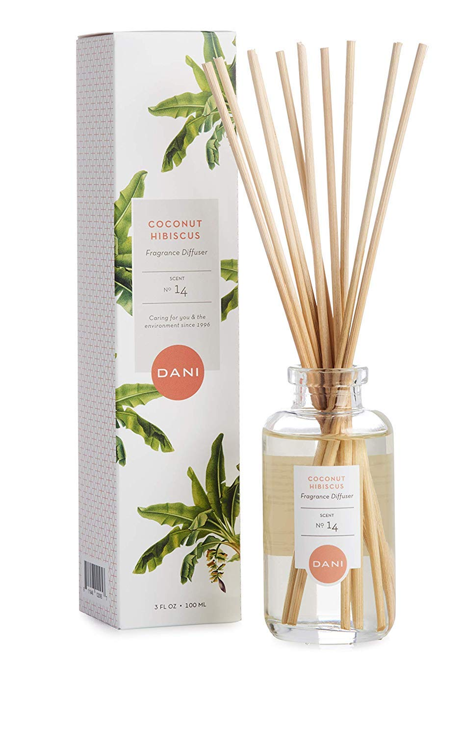 Natural Reed Diffuser Set by DANI Naturals - Tropical Coconut Hibiscus Scent - Aromatherapy Essential Oils - Alcohol Free - 10 Diffuser Sticks - 3.5 Ounce Glass Bottle by DANI