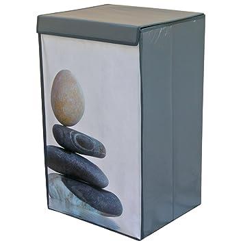 promobo meuble zen panier au linge lessive sale colonne galets eau