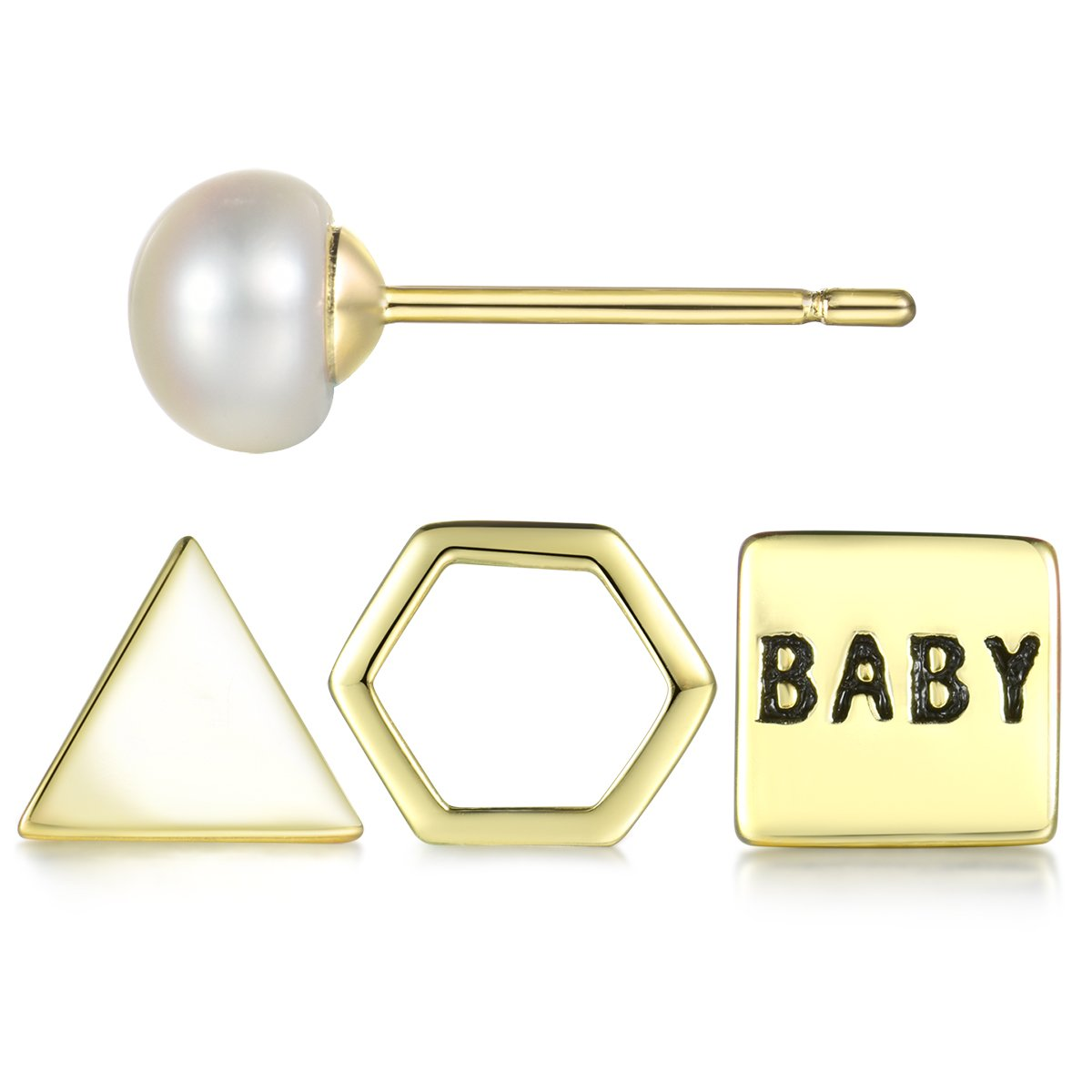 Tiny 925 Sterling Silver Geometric Stud Earrings Set for Cartilage Gold Plated 4 Pieces