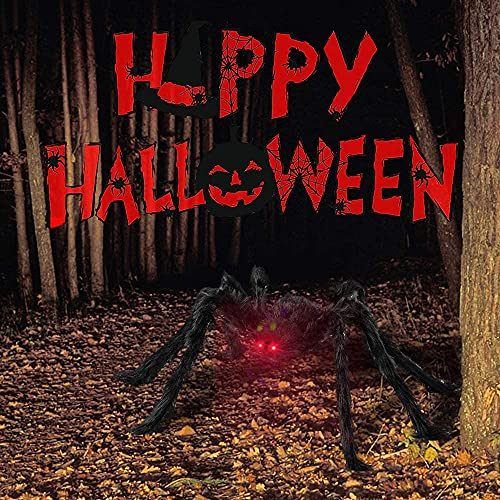 Bonbell Halloween Spider Decoration, 49 In/125 CM Giant Spider with Red LED Eyes & Scary Sounds, 16FT Spider Web + Small Plastic Spiders + Stretchy Cobweb Halloween Party Decor Indoor Outdoor Garden