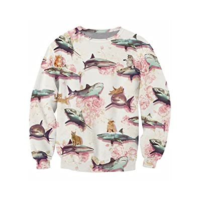 3D Men'S Sweatshirt Long Sleeve O-Neck 3D Sharks Cats Print Casual Tops Autumn Fashion Design Pullovers Men