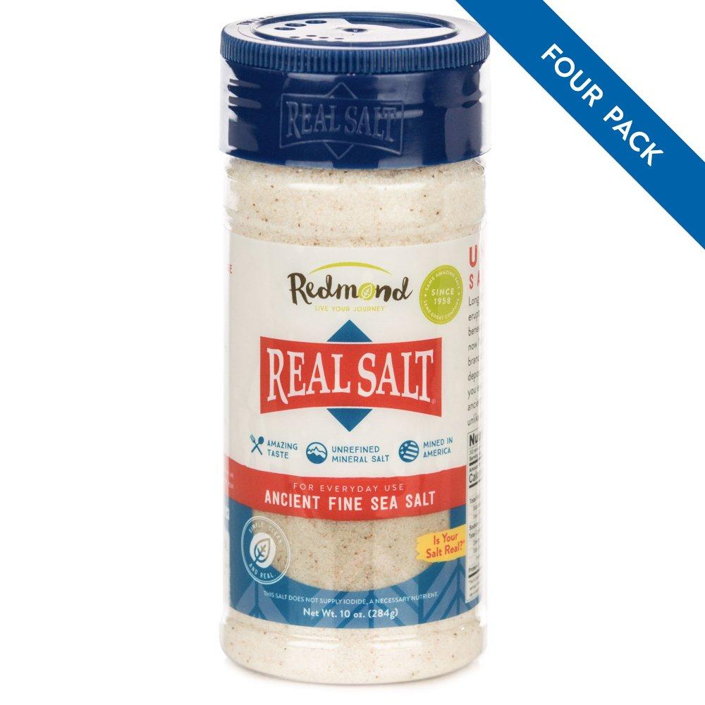 Redmond Real Sea Salt - Natural Unrefined Organic Gluten Free Fine, 10 Ounce Shaker (4 Pack)