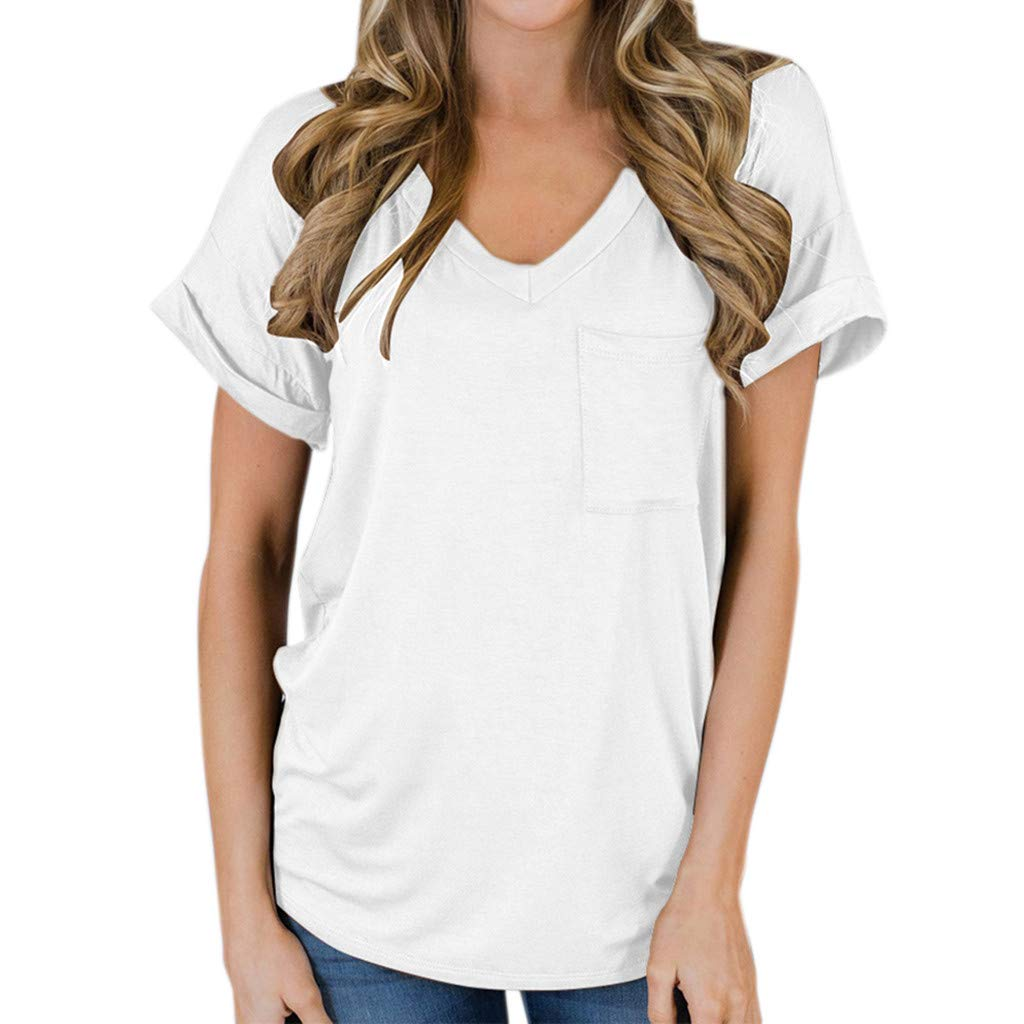 Short Sleeve Tee Blouse for Women,Amiley Women Simple Short Sleeve T Shirts V Neck Tops Casual Blouse with Pocket (X-Large, White)