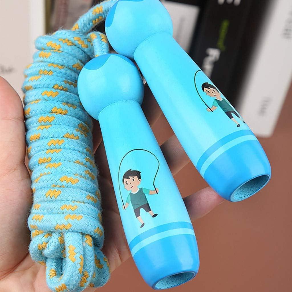 corde /à sauter r/églable en coton avec poign/ée en bois pour gar/çons et filles Corde /à sauter pour enfants