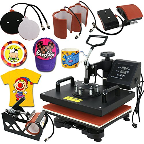 Pro Combo 6 Iron - Super Deal PRO 6 in 1 Combo Heat Press Machine T-Shirt Hat Cap Mug Plate Digital Transfer Sublimation Machine (6 in 1)