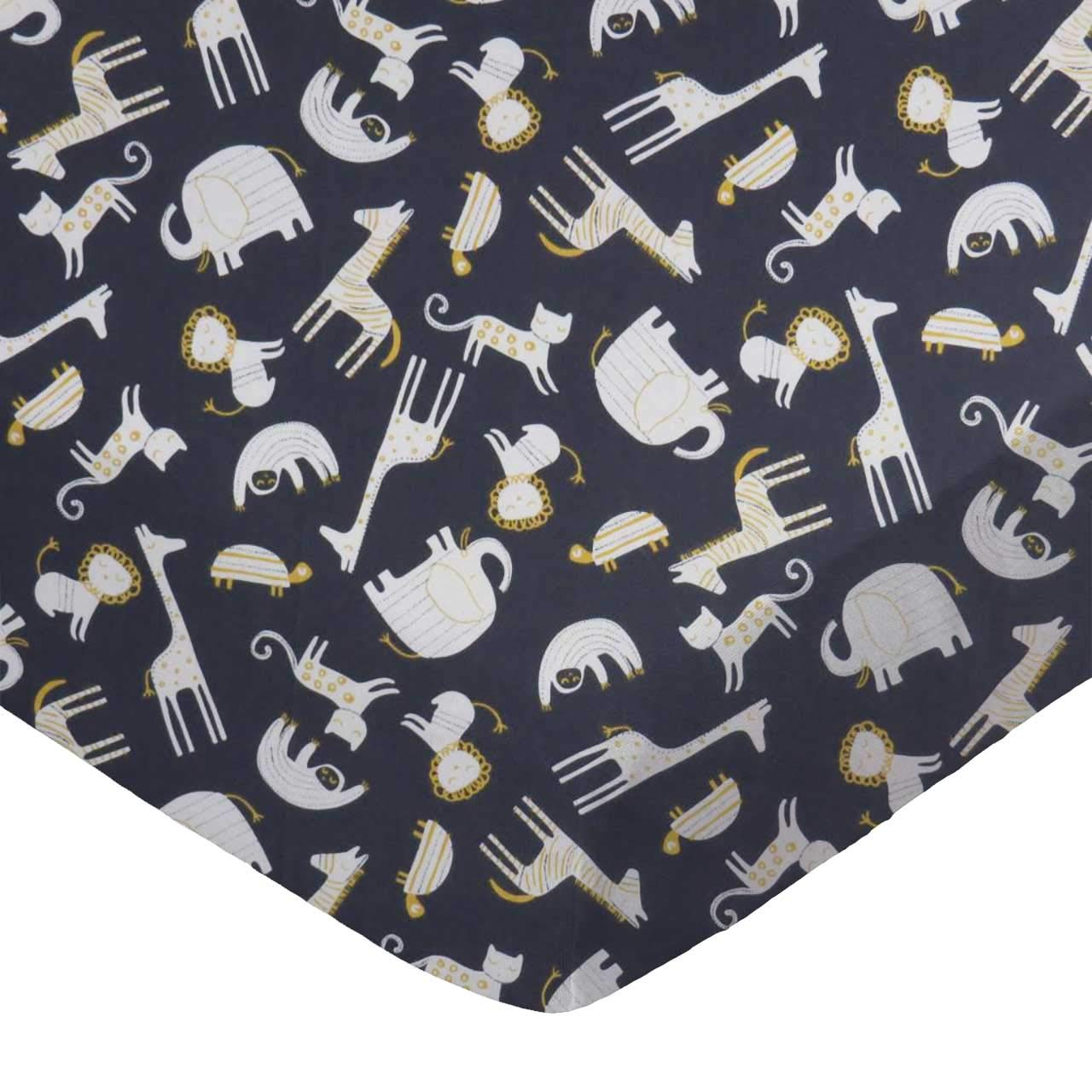 SheetWorld 100% Cotton Percale Extra Deep Fitted Portable Mini Crib Sheet, Modern Safari Animals Dark Gray, 24 x 38 x 5.5, Made in USA PC5-W1144