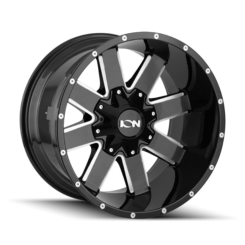 0 x 9. inches //6 x 135 mm, 18 mm offset 141 BLACK Wheel with GLOSS MILLED SPOKES ION