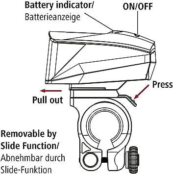Frontlicht + R/ücklicht, Fahrradlampe zugelassen im Stra/ßenverkehr nach StVZO, inkl. Batterie und Halterung, abnehmbar Hama LED Fahrradlicht Set Profi schwarz