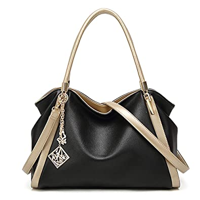 Amazon.com  Soft Leather Purse Large Handbag Women Tote Hobo Handbags  Shoulder Bag Top handle Satchel (Black Golden)  Shoes 952a1068b81fb