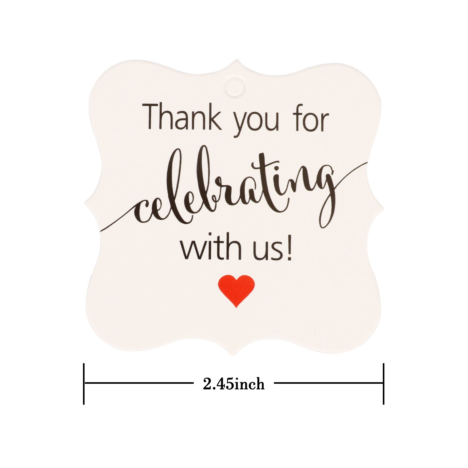 Aprince Paper Favor Gift Tags 100 PCS Thank You Tags Wedding Favor Gift Tags Thank You for Celebrating with Us White Square Tags with 20m Natural Jute Twine Perfect for Bridal Baby Shower Anniversary by Aprince (Image #1)