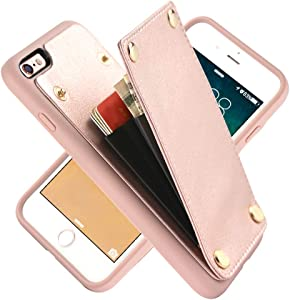 iPhone 6s Case, iPhone 6 Wallet Case, LAMEEKU Shockproof iPhone 6 Card Holder Case Credit Card Slot, Protective Cover Compatible for iPhone 6 / 6s - Rose Gold