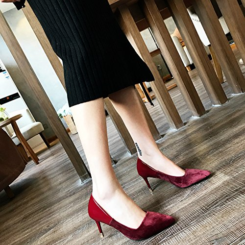 Shoes Match Mouth Fine All Heels Fashion Red A Spring 7 High Pointed 5Cm Lady Leisure Elegant Shallow Stitching Work MDRW 38 Shoes With w6Zx1TaqP