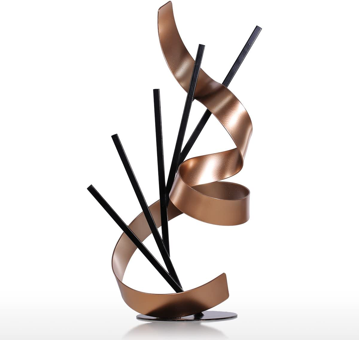 Tooarts Straight Line and Ribbon Modern Metal Sculpture Iron Statue Abstract Ornament Home Decor