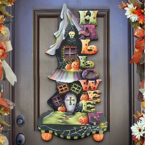 "Jamie Mills-Price Halloween ""Candle Holder"" Wooden Indoor and Outdoor Wooden Fall Halloween Hanging Door Decorations and Wall Sign, For Home, School, Office, Party Decorations #8457402H -"