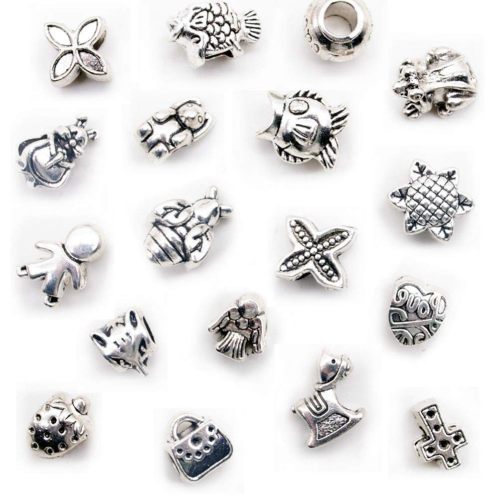 80 Pcs Big Hole Beads, Antique Metal Beads Charm Pendant for Bracelet Jewelry Making (Tibetan Silver Tone)