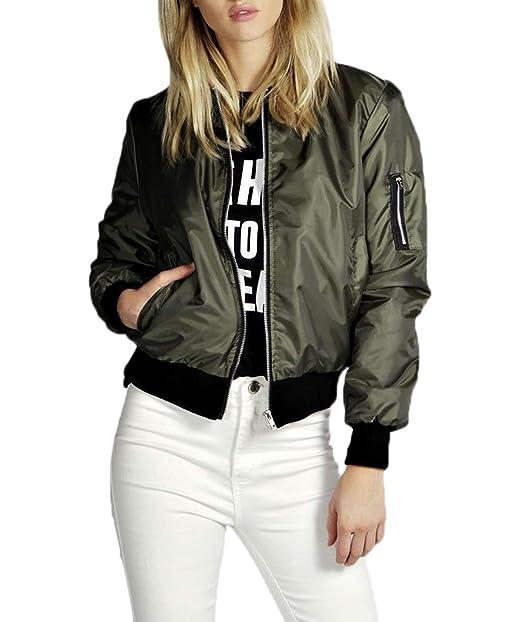 low priced 1f870 541f4 Simple-Fashion Donna Bomber Giacche Primavera e Autunno ...