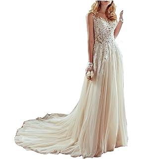 HSLS Womens Weddinging Dresses Elegant See Though Lace Applique A-line Wedding Bridal Gowns