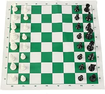 Juego de Mesa de Viaje 16 Pulgadas Torneo de Ajedrez Juego Juego Pedazos plásticos Verdes Llegan al Aire Libre los Viajes de Camping Juego de Tablero de ajedrez Tamaño 43x43cm para niños